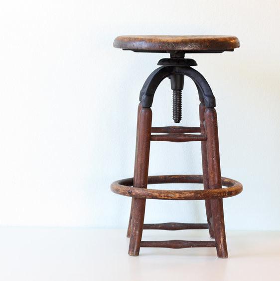 Vintage Industrial Wooden Stool By Bellalulu Vintage