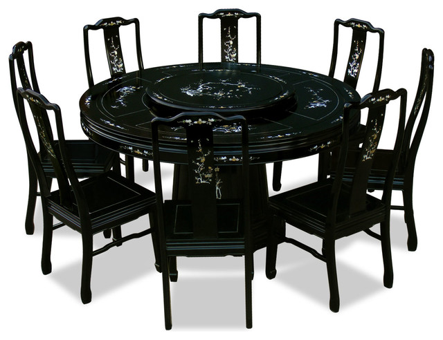 "8 Chair Round Dining Table: 60"" Rosewood Pearl Inlaid Design Round Dining Table With 8"
