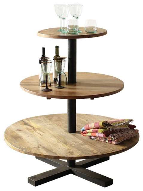 Bseid Round 3-Tier Mango Wood and Iron Display Tower ...