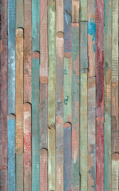 Rio Colored Wood Decal Farmhouse Wallpaper By