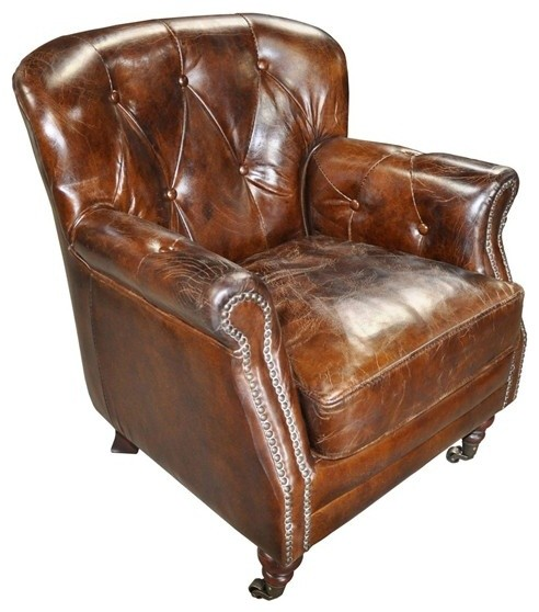 Noir Furniture Club Chair In Vintage Cigar Leather Lea963 Traditional Armchairs And