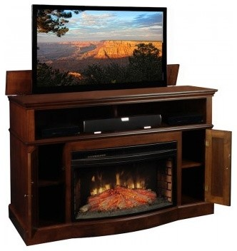 TV Lift Cabinets with Electric Fireplaces contemporary-entertainment ...