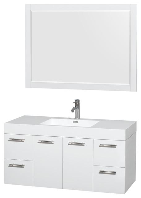 Amare 48 glossy white vanity acrylic resin top - Muebles de lavabo ...