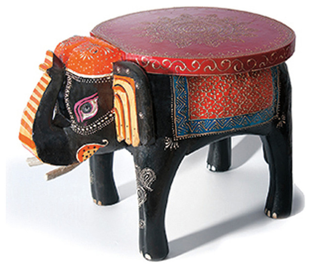 Hand Painted Elephant Foot Stool In Wood Modern Accent