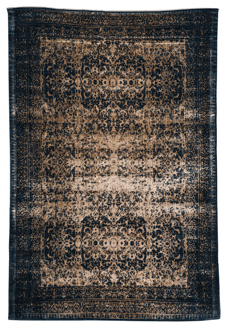 Wool Rug with Patterns, Indigo-Beige Wool - Asian - Area Rugs - by Artemano