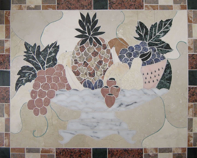 Handcrafted marble mural fruit bowl 39x26 backsplash for American tropical mural