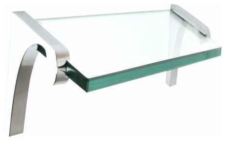 Alno Luna 24 Inch Glass Shelf with Brackets in Polished Chrome - Bathroom Cabinets And Shelves ...