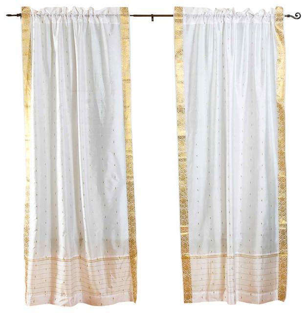 White Rod Pocket Sheer Sari Curtain / Drape / Panel