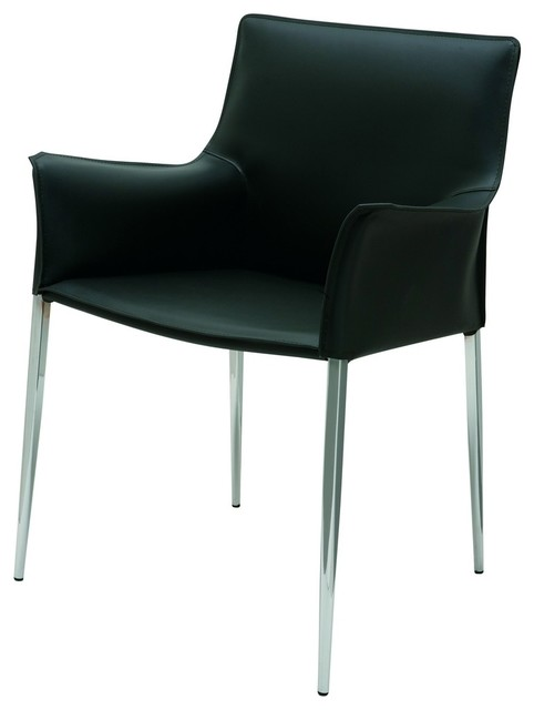 Colter Armchair with Steel Legs in Black Leather by Nuevo - HGAR398 ...