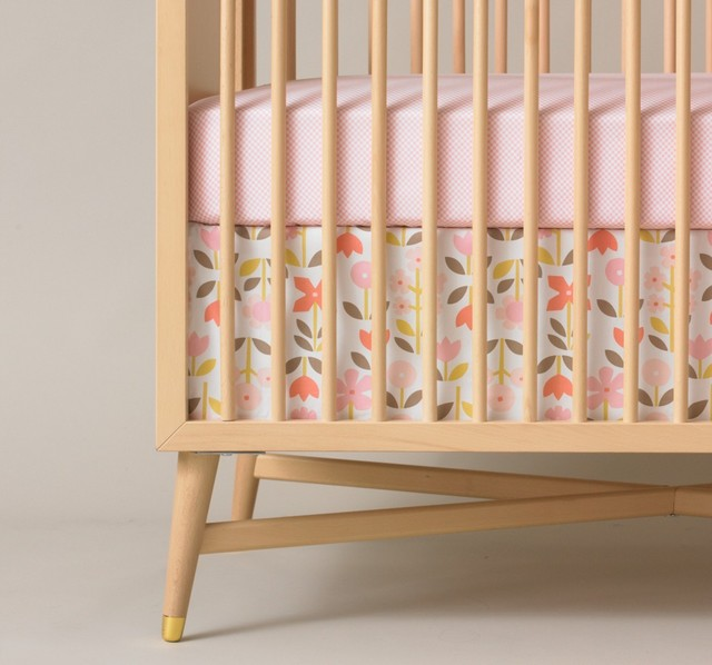 dwellstudio rosette crib skirt modern baby bedding