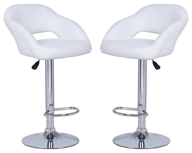 Adeco White Hydraulic Lift Adjustable Barstool Low Cut Out