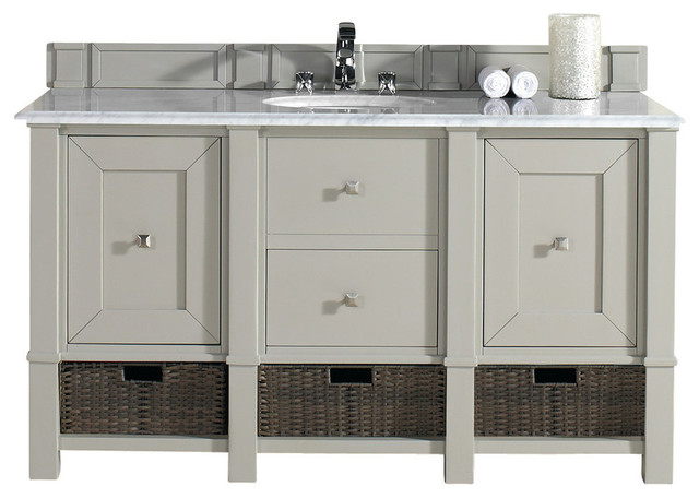 Gray White Bathroom Double Vanity With Top