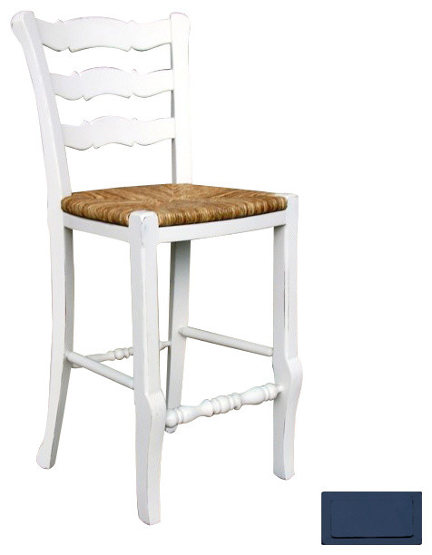 French Country Ladder Back Counter Stool Blue Beach