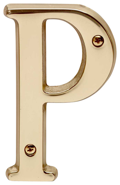 House Numbers Bright Solid Brass 4 House Letter P
