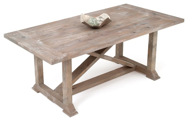 Soft Modern Dining Table In Grey Wash Finish