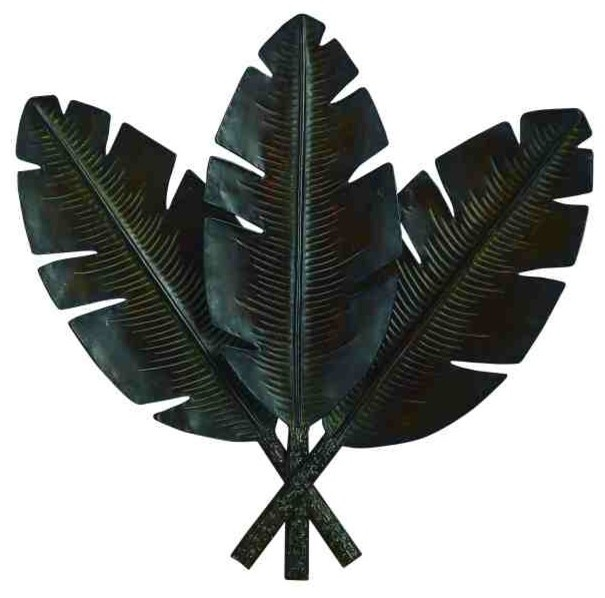Tropical leaf trio metal art tropical artwork by for Tropical metal wall art