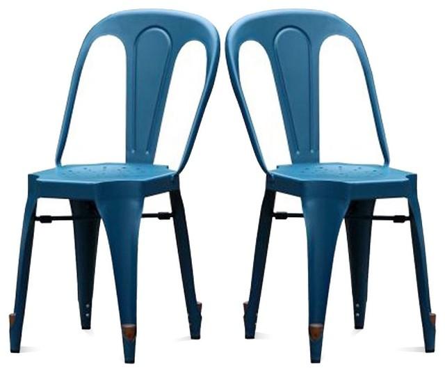 Lot de 2 chaises strong laqu es couleur bleu industrial - Chaises de couleur ...