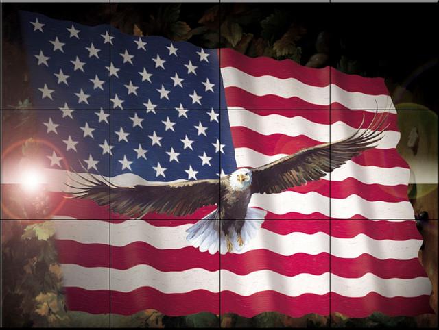 Tile mural american eagle flag kitchen backsplash for American flag wall mural