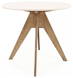 table de repas ronde design 85 cm pied teint noyer