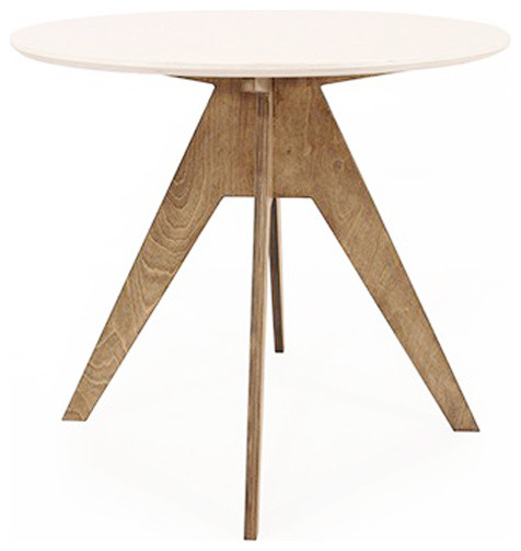 Table de repas ronde design 85 cm pied teint noyer - Table ronde 110 cm ...