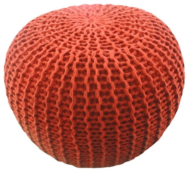 morrow knitted pouf rust contemporary floor pillows morro bay retreat