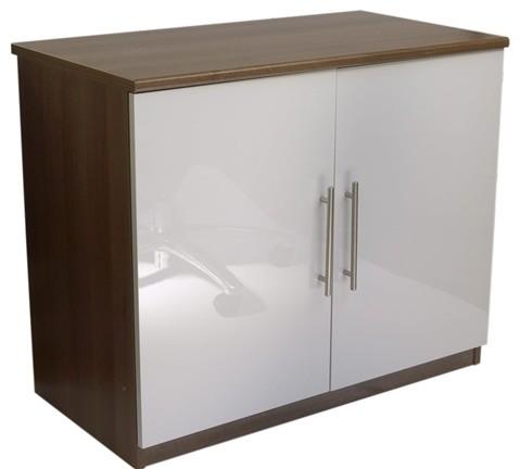 Calgary White Gloss Two Door Cupboard Modern Storage