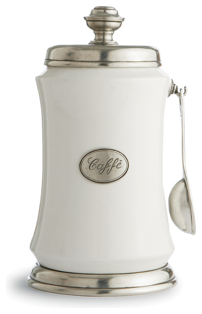 tuscan coffee canister with spoon traditional kitchen