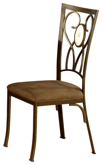 Brookside Metal Dining Chairs With Fossil Stone