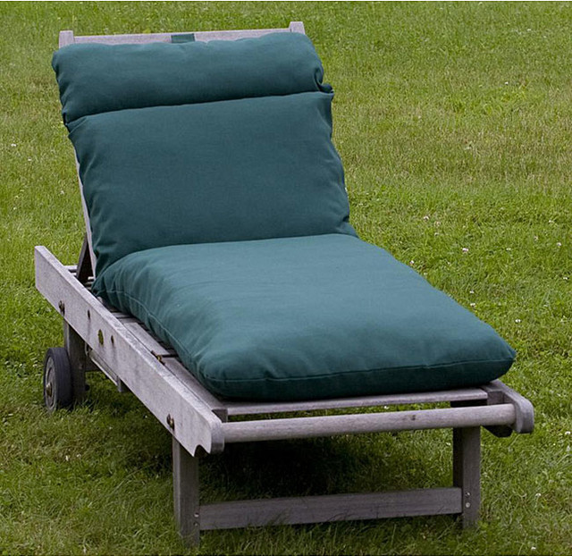 Outdoor forest green chaise lounge cushion contemporary for Aqua chaise lounge cushions