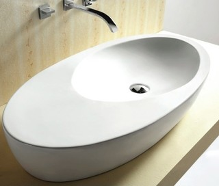 Unique oval shaped ceramic vessel bathroom sink for Odd shaped kitchen sinks