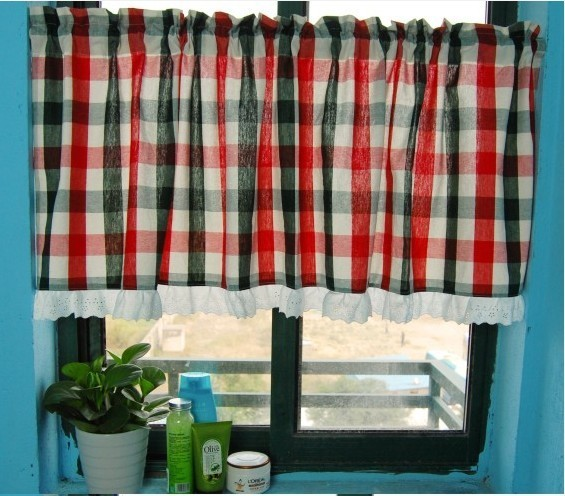 Red Grid Kitchen Window Curtain Bathroom Curtain Modern Shower Curtains By Sinofaucet