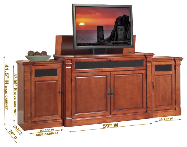 Adonzo TV Lift Cabinet With Side Cabinets For Flat Screen