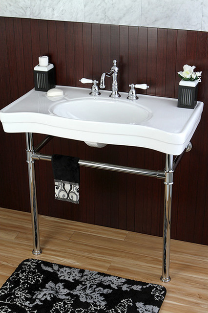 36 Pedestal Sink : Imperial Vintage 36-inch Wall-mount Chrome Pedestal Bathroom Sink ...