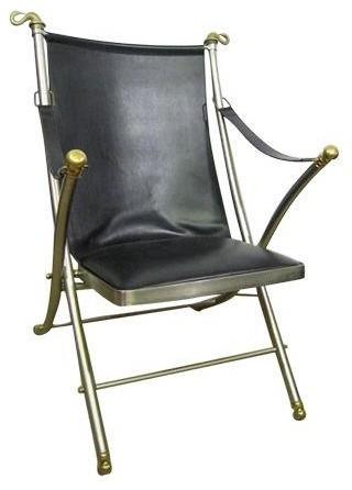 60s leather folding italian caign chair modern