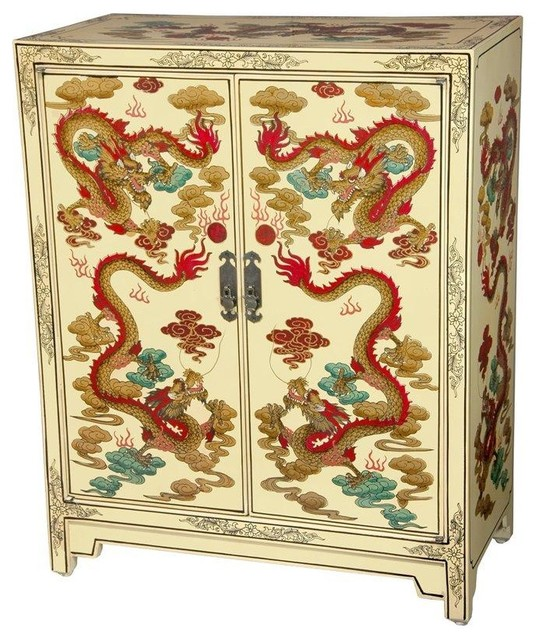 Ivory Dragons Lacquer Shoe Cabinet - Traditional - Accent ...