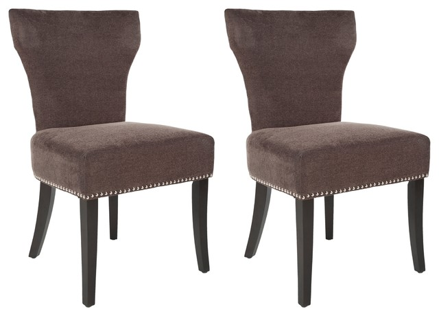 safavieh matty brown polyester nailhead dining chair set