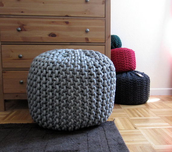 Modern Knitted Pillow : Giant Knit Rope Pouf Pattern by Mary Marie Knits - Modern - Floor Pillows And Poufs - by Etsy