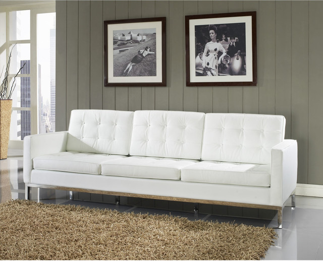 Florence style white leather loft sofa r tro canap for Canape style loft