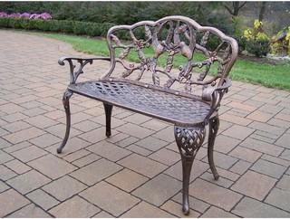 Oakland Living Hummingbird Cast Aluminum Patio Bench Antique Bronze Moder