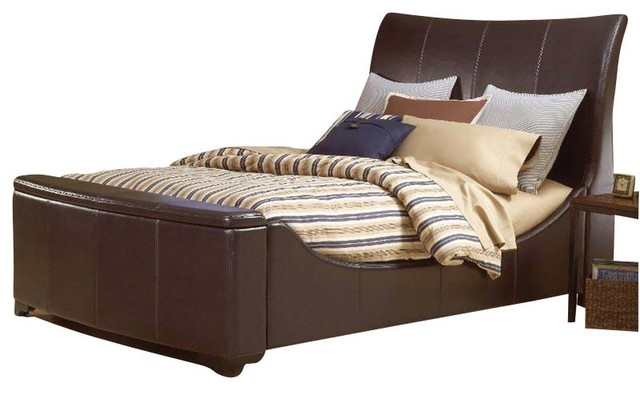 brown leather sleigh bed with drawers 2