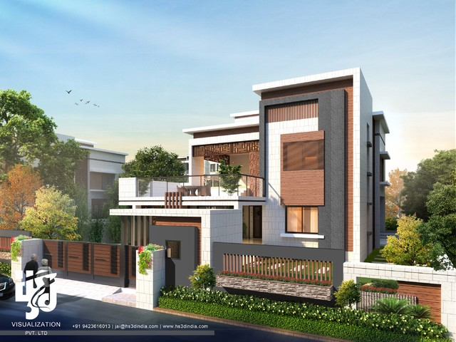 3d Modern Bungalow Exterior Elevation Day Renderings By Hs