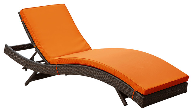 Peer outdoor patio chaise in brown orange modern for Chaise longue orange