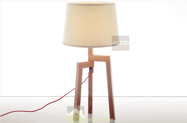 Wooden Contracted Three Feet Support Table Lamps - Modern - Table ...
