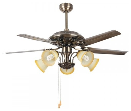 "Vintage Bronze Ceiling Fan Light 50"" With Pull Chain"