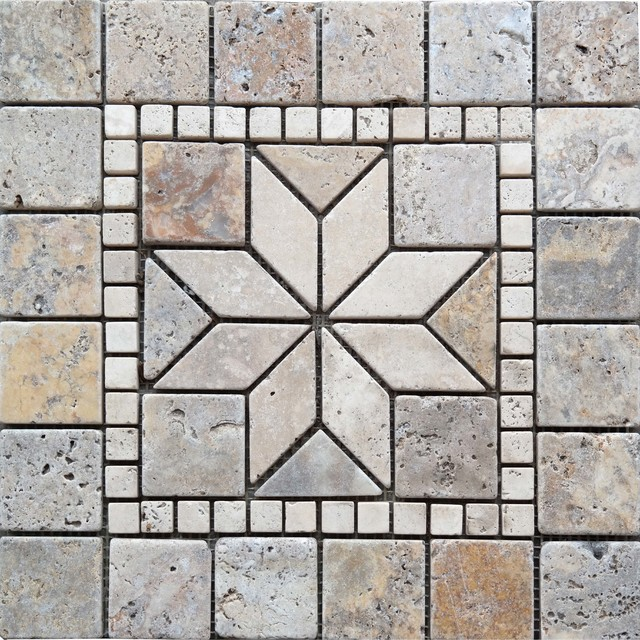 Medallion Mosaic Tile Scabos Travertine Traditional