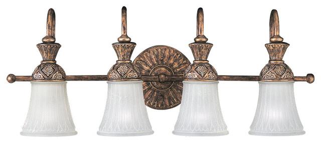 4 Light Highlands Wall Sconce Regal Bronze Victorian Bathroom Vanity Lighting By Sea Gull