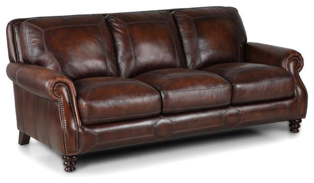Simon li brown leather sofa traditional sofas for Traditional leather sectional sofa