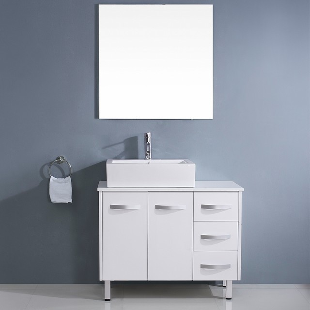 Virtu Usa Tilda 40 Inch White Single Sink White Stone