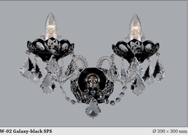 Bohemian Czech Crystal wall sconce in Black - Modern - Chandeliers - adelaide - by Murano Art ...