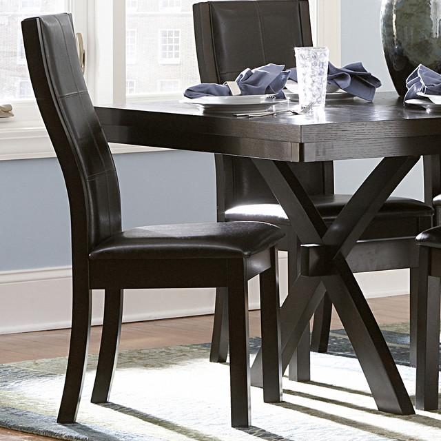 tribecca home dartford espresso contoured dining chair set of 2 contemporary dining chairs